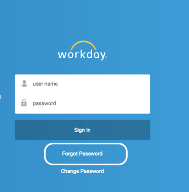 Workday 'Forgot Password' screen