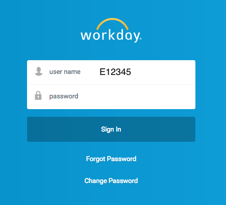 Workday 'Login' screen