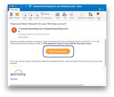 Example of a password reset email